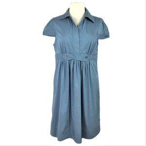 BCBG Max Azaria L Pleated Day Dress Blue